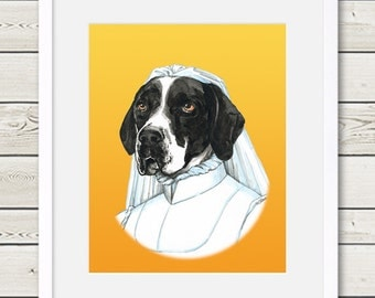 English Pointer Art - English Pointer Bride Dog Portrait Painting - Wedding Dog Art, dog home decor