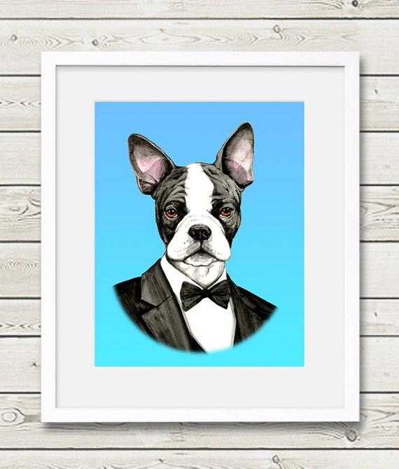 Boston Terrier Art - Boston Terrier Groom Dog Portrait Painting - Wedding Dog Art - dog print, dog home decor