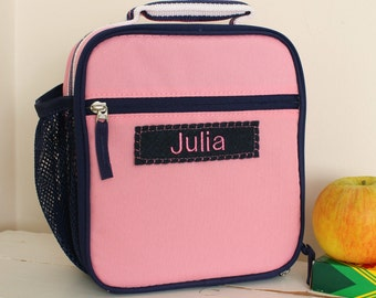 Lunch Bag With Monogram  -- Pink/Navy Classic