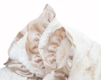 Stroller Size Minky Baby Blanket Cream Minky and Latte Satin Ruffle Trim