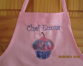Child's personalized apron-Appliqued Cupcake-