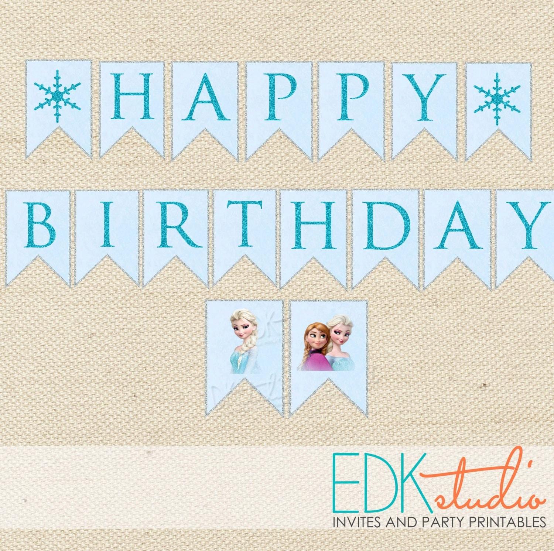Frozen Birthday Banner Printable Frozen Banner Party By: FROZEN Party//Birthday Banner//Printable Instant Download