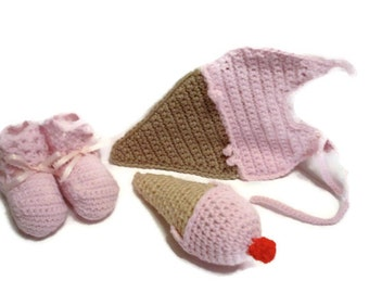 Strawberry Pink Ice Cream Dessert Sweet Treat Crochet Baby Booties, Baby Rattle and Baby Bib Matching Set Fits Up to 6 Months Infant Girl
