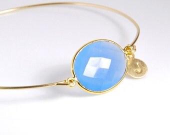 Blue chalcedony bangel  bracelet, 14K gold fill bracelet, personalized gemstone bracelet, personalized jewelry with genuine natural gemstone