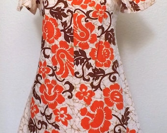 Vintage 60's Floral Print Hawaiian Dress - Orange Tangerine - Boho Chic
