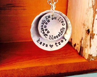 NEW-My Greatest Blessings Call Me Mom--Hand Stamped Necklace