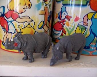 little plastic toy rhino figurines