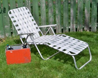 Popular items for webbed on etsy for Aluminum web chaise lounge