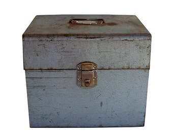 """Mid Century Industrial Metal File Box with Dividers """"Nicely Distressed"""""""