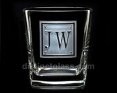 Best Man Gifts - Personalized Double Initial SQUARE MONOGRAM Wedding ROCKS Glasses Scotch Glasses - 12oz Etched Glass - Ships to Canada