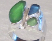 Special Order for Cindy-Sea Glass Multi-Stone Sterling Silver Ring