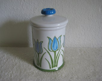 Vintage ceramic dresser jar, vase or pencil holder with flowers