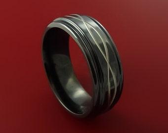 Black Zirconium Celtic Band Infinity Symbolic Wedding Ring Custom Made to Any Size