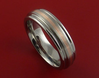 Rose Gold and Titanium Ring Custom Made Band Any Finish and Sizing from 3-22
