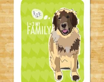 Leonberger Art Print - I Heart My Family - Leonberger Gifts Dog Pop Art