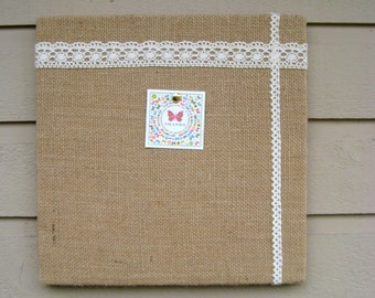 Bulletin Pinboard made from Natural Burlap and Lace for your office, bedroom or kitchen, lovely for wedding place card display