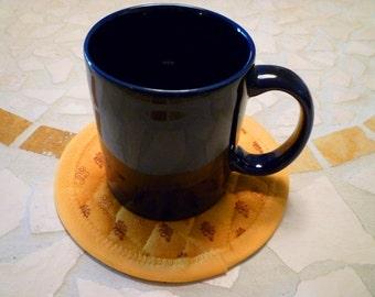 Mug Mats - Set of 4 - Reversible Mug Rugs - Chickens & Roosters - Marigold on Reverse Side - Blue, White, Marigold