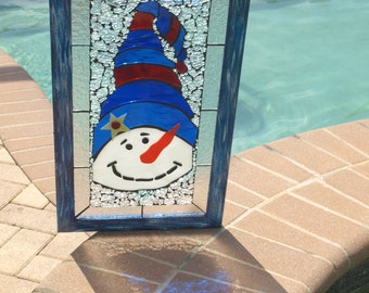 High Hat Snowman Frosty Stained Glass Mosaic Framed Blue