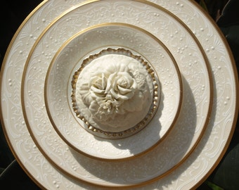 Glass Plate Flower repurpose vintage ivory lace shabby chic
