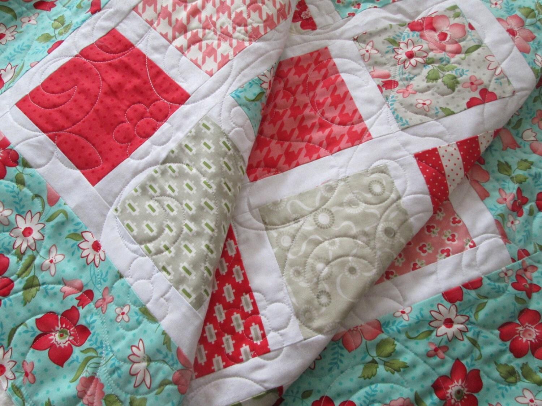 Vintage modern baby girl quilt girl crib bedding by bellazahn - Modern baby girl crib bedding ...