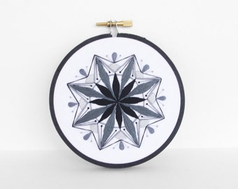 Black and White Art, Mandala Hand Embroidery Hoop Art, 4 inch Embroidery Hoop Fiber Art in Tangerine, Butter & Peach