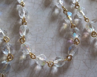 Bead Chain Rosary Chain Transparent Crystal Clear AB 6mm Fire Polished Glass Beads on Gold Beaded Chain - Qty 18 Inch strand