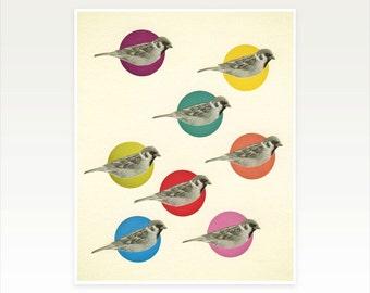 Bird Art, Sparrow Wall Art, Collage Art Print - Gathering Sparrows