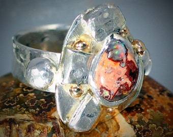 Here Comes the Sunshine Ring Featuring 1.75 Carat Mexican Fire Opal, Embossed Sterling Silver Sun Rays, Five 14k Gold Balls(Stars)SIZE 6