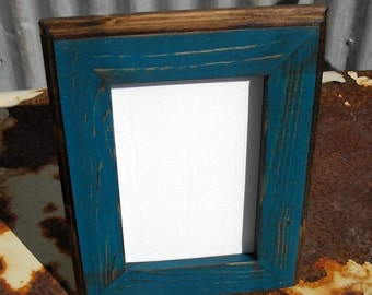 5x7 Picture Frame, Teal Rustic Weathered Style With Routed Edges