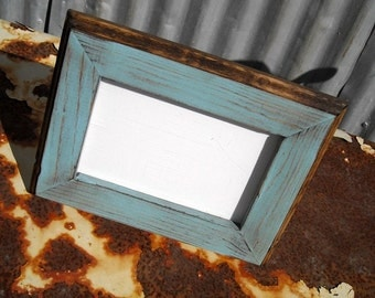 4 x 6 Picture Frame, Rustic Baby Blue With Routed Edges, Rustic Home Decor, Rustic Wood Frames, Home Decor, Wooden Frames, Rustic Frames