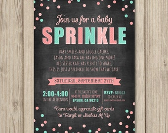 BABY SPRINKLE Invitation - Chalkboard Baby Sprinkle - Baby Shower Invitation