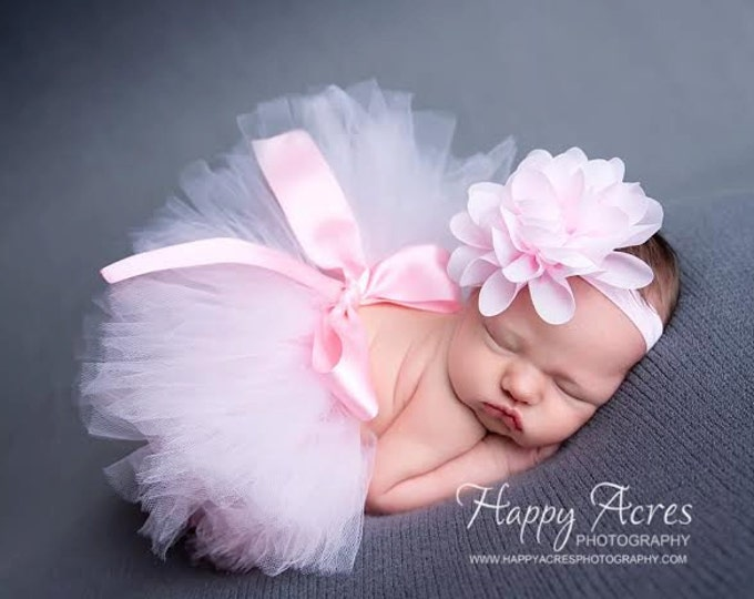Featured listing image: Palest Pink Newborn Tutu and Headband, newborn tutu, baby tutu, newborn photography prop, birthday tutu