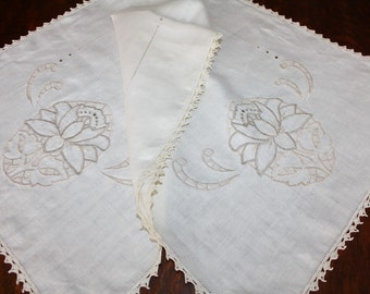 Vintage Runner Dresser Scarf Pure Linen Cutwork Embroidery Large
