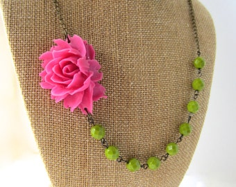 Pink Bridesmaid Jewelry Set Beaded Flower Necklace Pink and Green Wedding Jewelry Rustic Wedding Jewelry Set