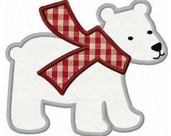 Polar bear applique machine embroidery design