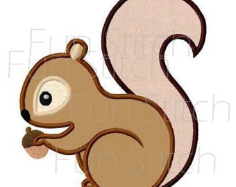 Squirrel applique machine embroidery design instant download