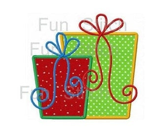 Christmas gift boxes applique machine embroidery design