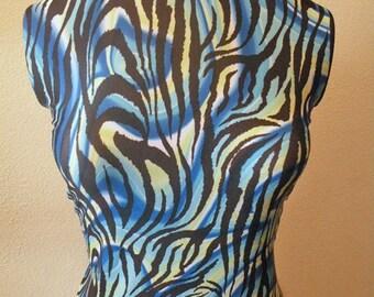 Blue Green Zebra print fabric lycra