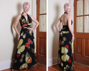 STUNNING 1930's Style Inky Black Silk Chiffon w/ Huge Multicolored Monarch Butterflies Print Halter Evening Gown by Tadashi - Shelf Bust - M