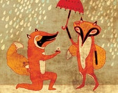 FOX ENGAGEMENT - art print // cute fox illustration // orange couple love woodland wedding marry me