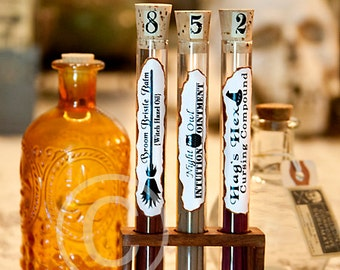 Halloween,Potion Bottle, Potion, Halloween Potion,Test Tubes, Set of 3, Brown, White, Wooden Holder, Choice of Designs, Apothecary