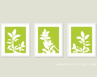 Botanical Prints Set of Three - Green and White Plants - Modern Home Decor - Botanical Wall Art - Spring Decor
