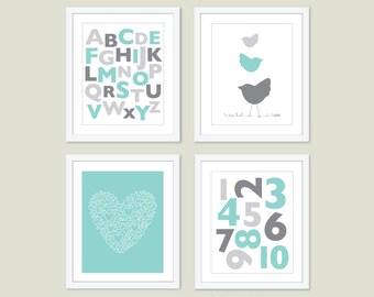 Baby Girl Nursery Art Prints - Aqua Blue and Grey Nursery Wall Art - Alphabet and Numbers Heart and Birds - Nursery Decor