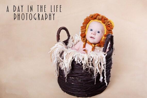 Mighty Lion Bonnet pdf PATTERN (digital download), crochet, size newborn to 3 years, lion hat, animal hat pattern, photo prop
