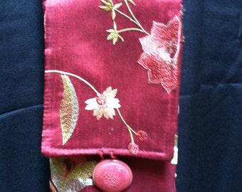 Burgundy Brocade Cell Phone Bag, Walking Purse, Purses, Cross Body Bag, Shoulder Bags, Shoulder Bag, Dancing Bag, Vintage Button Long Strap