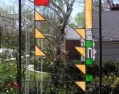 "Prairie School Style Hunt Window-- 17.5"" x 30.5"". Stained Glass Window Panel-"