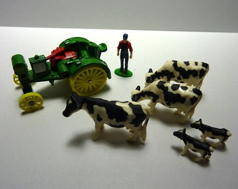 Terrarium Supplies: TRACTOR, farmer, milk cows, calves to graze