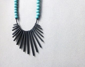 tribal geometric necklace - black sticks and turquoise beads - contemporary jewelry