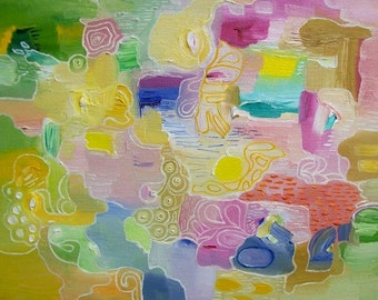 Abstract Gallery Quality Giclee Decorative Art Print Light Colors Pastel Home Decor Art