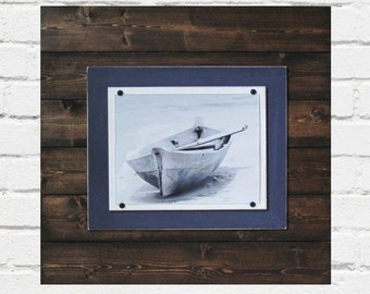 Dark Wood and Navy Blue 21x21 Plank Frame for 8x10